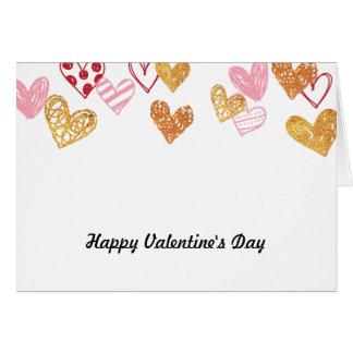 Rött & guld- hjärtakort för kärlek hälsningskort