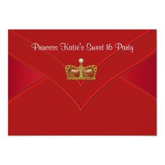 Rött guld- party för Princess Sötsak 16 12,7 X 17,8 Cm Inbjudningskort