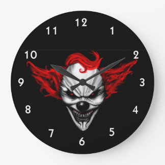 Rött hår för lycklig ond clown stor klocka