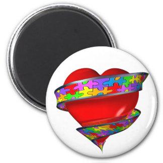 Rött hjärtaband magnet rund 5.7 cm