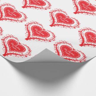 Rött hjärtaträd för valentin som namnges gåvasjal presentpapper