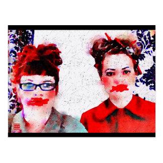 Rött i ansiktevykortet vykort