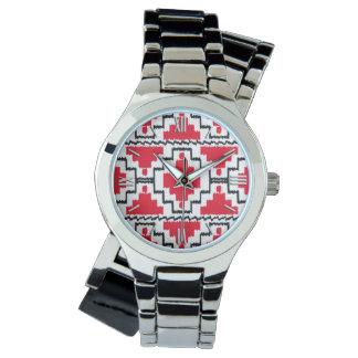 Rött Ikat Aztec mönster -, svartvitt Armbandsur