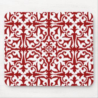 Rött Ikat damastast mönster - mörk - och vit Musmatta