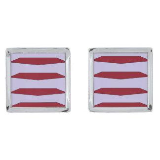 Rött jämnar Cufflinks Silverpläterade Manschetterknappar