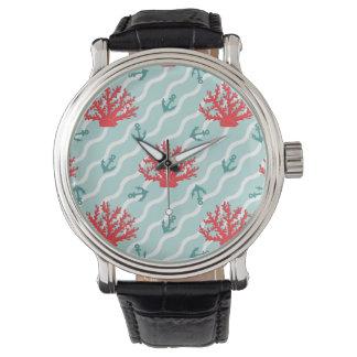 Rött korallmönster 1 armbandsur