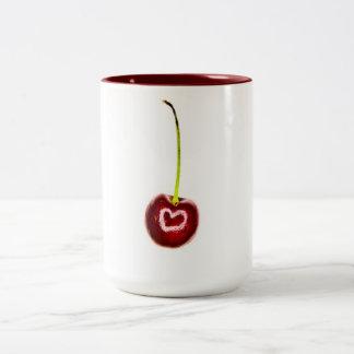 Rött körsbär för singel med vithjärtamuggen Två-Tonad mugg
