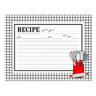 Rött kort för recept för kavel för kökUtensilCaddy