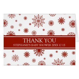 Rött kort för tack för snövinterbaby shower