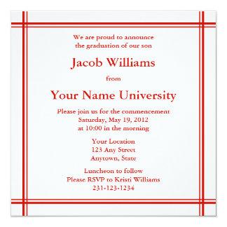 Rött kvadrera det studenteninbjudan eller fyrkantigt 13,3 cm inbjudningskort