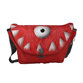 Rött läskigt hårigmonster kurir väska