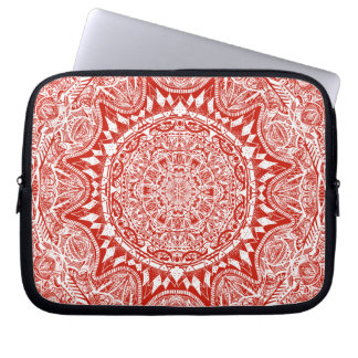 Rött mandalamönster laptop fodral