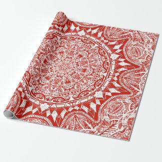 Rött mandalamönster presentpapper