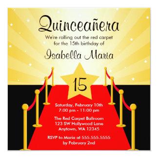 Rött matta den Hollywood Quinceanera Fyrkantigt 13,3 Cm Inbjudningskort