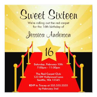 Rött matta Hollywood födelsedagsfest sött 16 Fyrkantigt 13,3 Cm Inbjudningskort
