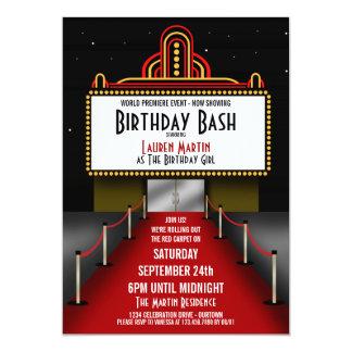 Rött matta teaterfödelsedagsfest inbjudan