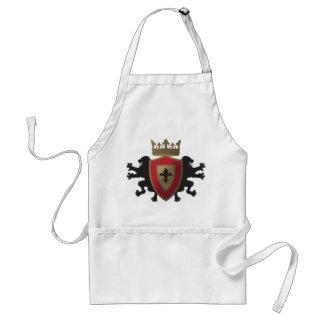 Rött medeltida lejont heraldikförkläde förkläde