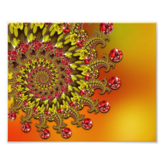 Rött mönster för gult- & orangeBokeh Fractal Fototryck
