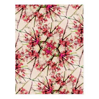 Rött motiv för blommigt för Deco geometriskt Vykort