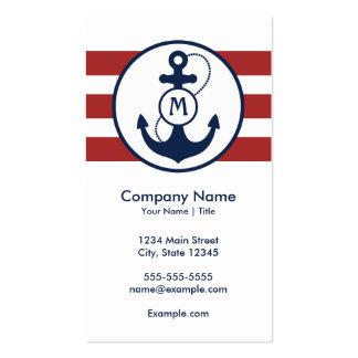 Rött nautiskt ankrar monogramen set av standard visitkort