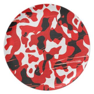 Rött nedfall Camo (AOM-designen) Tallrik