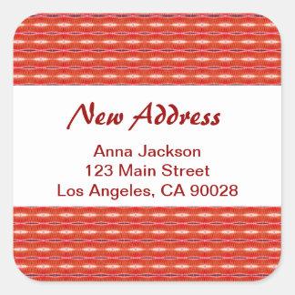 Rött nytt adress fyrkantigt klistermärke