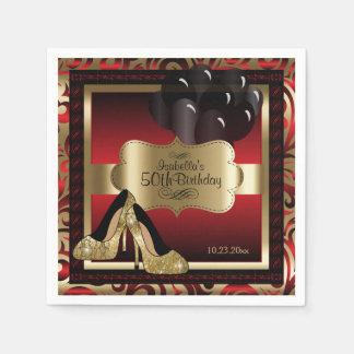 Rött och guld- metalliskt - 50th text för servetter