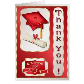 Rött och guld- studententackkort hälsningskort