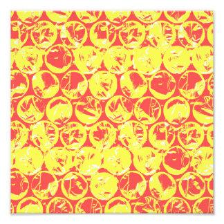 Rött och gult bubbla sjalpopkonst fototryck
