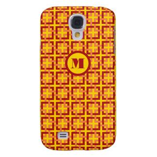 Rött och orangen kvadrerar fodral för den Samsung  Galaxy S4 Fodral
