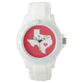 Rött och rosa statligt hjärtaTexas hem Armbandsur
