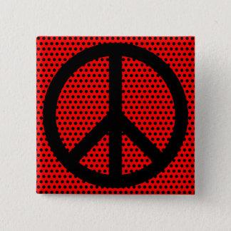 Rött och svart fredsymbol standard kanpp fyrkantig 5.1 cm