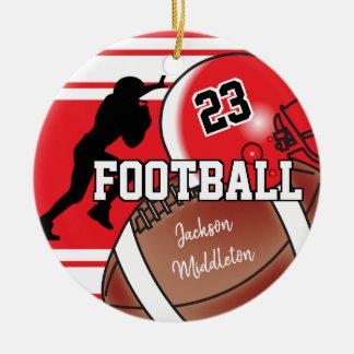 Rött och svart personifiera fotboll julgransprydnad keramik