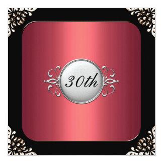 Rött och svart ram30års födelsedagparty fyrkantigt 13,3 cm inbjudningskort