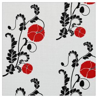 Rött och svart vallmoblommamönster tyg