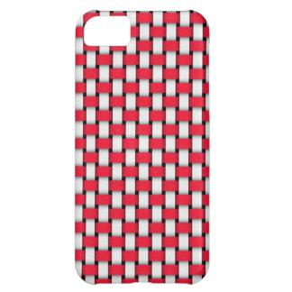 Rött och vit sy fodral iPhone 5C fodral