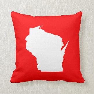 Rött och vit Wisconsin Kudde