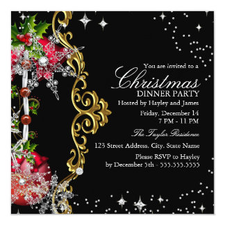 Rött party för middag för jul för kort för inbjudningar