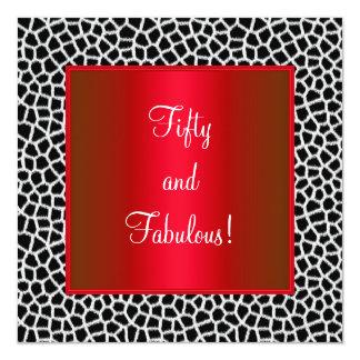 Rött party för sagolik 50th djur trycksvartvit fyrkantigt 13,3 cm inbjudningskort