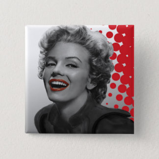 Rött pricker Marilyn Standard Kanpp Fyrkantig 5.1 Cm