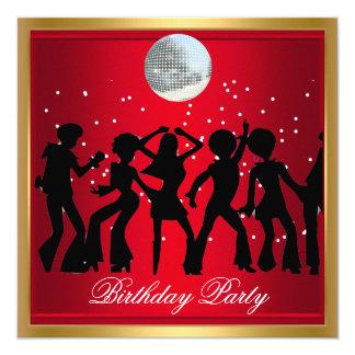 Rött retro för disko70-talfödelsedagsfest fyrkantigt 13,3 cm inbjudningskort