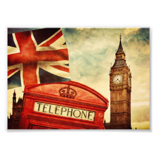 Rött ringa båset och stora Ben i London, England Fototryck