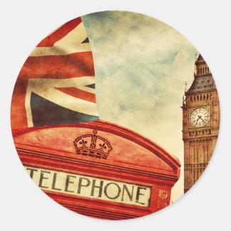 Rött ringa båset och stora Ben i London, England Runt Klistermärke