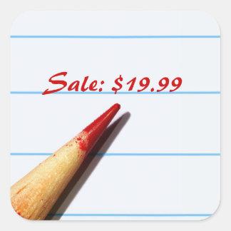 Rött rita på fodrade pappra prislappar fyrkantigt klistermärke