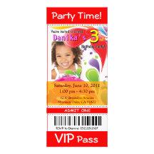 (Rött) roligt party för foto för ungeVIP-biljett, Inbjudan