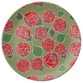 Rött romantiskt romönster porslinstallrik