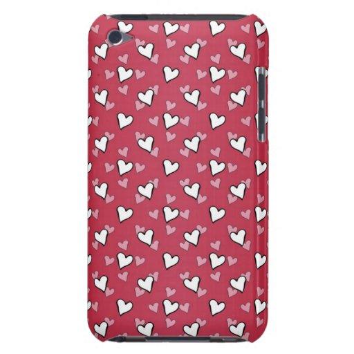 Rött rosa vithjärtamönster iPod Case-Mate cases