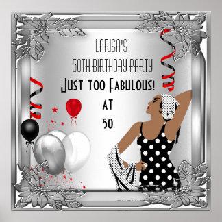 Rött sagolikt för art décofödelsedag för 50 Diva b Poster