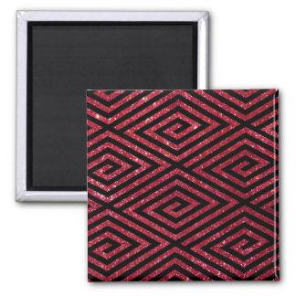 Rött skina glittersvartmönster magnet