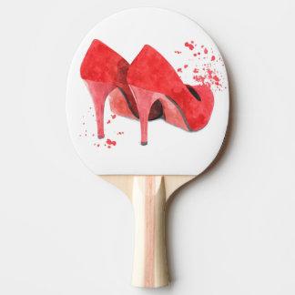 Rött skor för glamourstil för mode moderiktig pingisracket